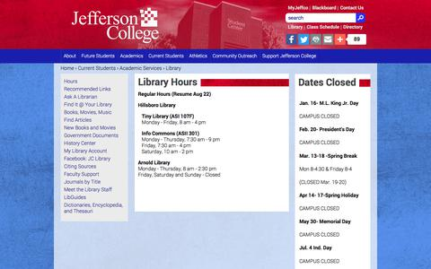 Screenshot of Hours Page jeffco.edu - Library Hours | jeffco.edu - captured Oct. 16, 2017