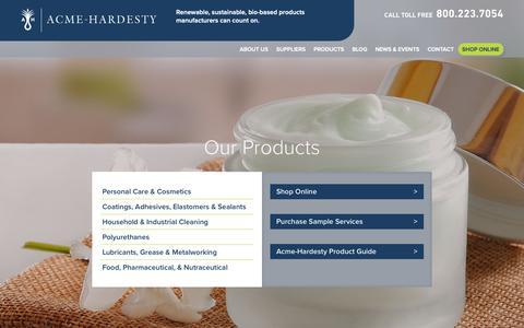 Screenshot of Products Page acme-hardesty.com - Products & Markets | Acme-Hardesty - captured Oct. 3, 2018