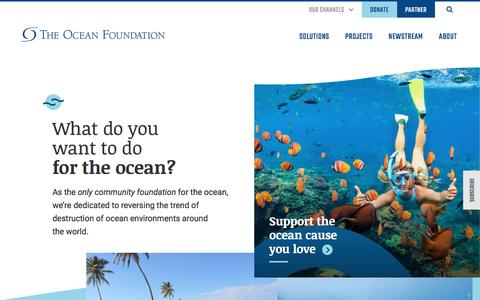 Screenshot of Home Page oceanfdn.org - Home - The Ocean Foundation - captured Oct. 14, 2019