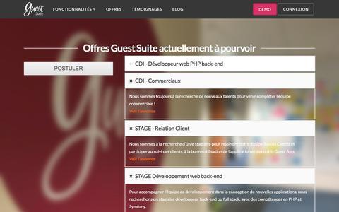 Screenshot of Jobs Page guest-suite.com - Rejoignez l'équipe Guest Suite ! - captured May 25, 2017