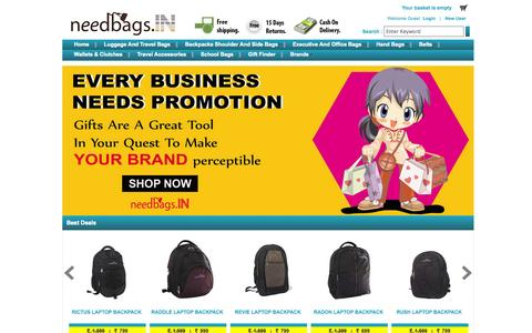 Screenshot of Home Page needbags.in - Best Online Bags Shopping Store - captured Oct. 6, 2014