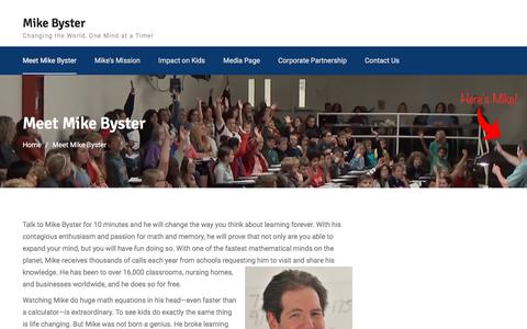 Screenshot of About Page mikebyster.com - Meet Mike Byster – Mike Byster - captured March 20, 2018