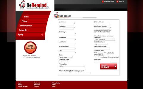 Screenshot of Signup Page reremind.com - ReRemind | Secure Sign Up Form - captured Oct. 1, 2014