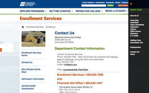 Screenshot of Hours Page edcc.edu - Edmonds Community College: Enrollment Services - Contact Us - captured Oct. 2, 2015