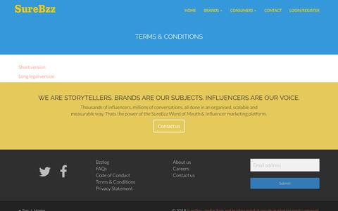 Screenshot of Terms Page surebzz.com - Terms and Conditions – SureBzz – Indias first and leading word of mouth marketing media network - captured Sept. 21, 2018
