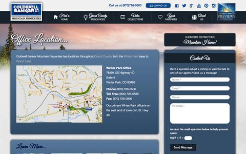 Screenshot of Contact Page cbmp.com - Coldwell Banker Mountain Properties Locations | Winter Park - captured Oct. 3, 2014
