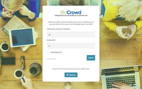 Screenshot of Login Page biocrowd.com - LOGIN | BioCrowd - captured Aug. 2, 2018