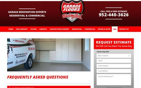 Screenshot of FAQ Page gfunlimited.com - FAQ | Garage Floor Coatings Minneapolis - captured Oct. 25, 2016