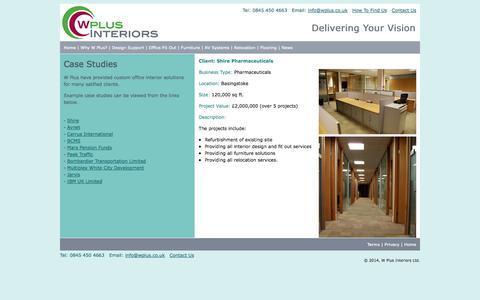 Screenshot of Case Studies Page wplus.co.uk - W Plus - Case Studies - captured Oct. 7, 2014