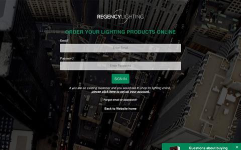 Screenshot of Login Page regencylighting.com - Regency Lighting Web Store Login - captured June 13, 2017