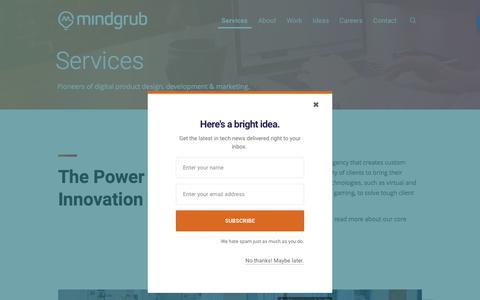 Screenshot of Services Page mindgrub.com - Digital Agency - Mobile App, Website, Digital Marketing | Mindgrub - captured April 15, 2018