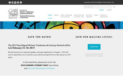 Screenshot of Home Page sanmiguelwritersconference.org - Home - San Miguel Writers' Conference - captured July 19, 2016