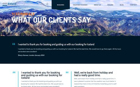 Screenshot of Testimonials Page icelandprotravel.is - Iceland videos - Iceland ProTravel - captured July 5, 2019
