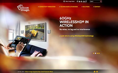 Screenshot of Home Page siliconimage.com - Silicon Image, The Leader in HD Connectivity for CE, PC, and Mobile Markets - captured Sept. 19, 2014