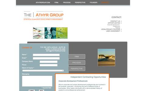 Screenshot of Contact Page Terms Page athyrgroup.com - THE ATHYR GROUP - Contact - captured Oct. 26, 2014