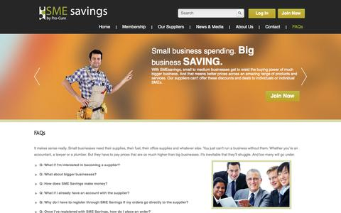 Screenshot of FAQ Page smesavings.com.au - FAQs | SME savings - captured Sept. 30, 2014