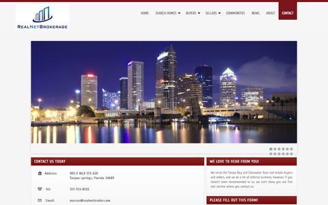 Screenshot of Contact Page realnetbrokerage.com - Contact Information for REALNET BROKERAGE - captured Sept. 30, 2014