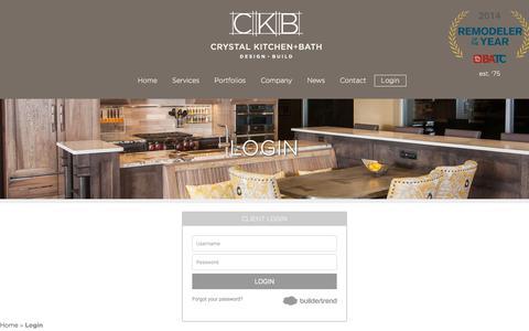 Screenshot of Login Page crystalkitchen.com - Login | Crystal Kitchen + Bath - captured Sept. 16, 2017