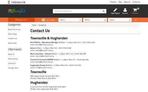 Screenshot of Contact Page bontech.net.au - Contact Us - captured Oct. 10, 2017