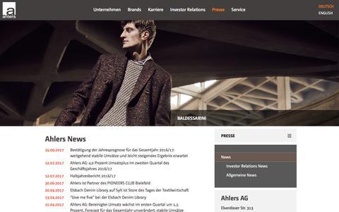 Screenshot of Press Page ahlers-ag.com - Ahlers AG: News - captured Oct. 7, 2017