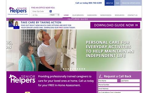 Screenshot of Home Page seniorhelpers.com - Provider of Home Health Care Services | Senior Helpers - captured Jan. 10, 2016