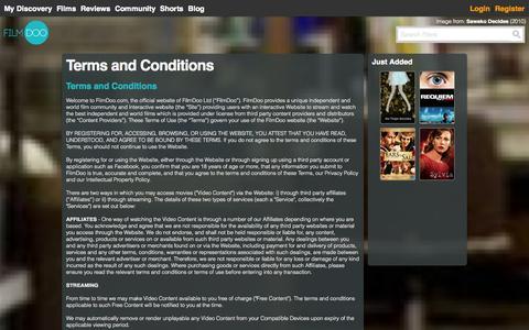 Screenshot of Terms Page filmdoo.com - FilmDoo: FilmDoo : Discover Film - captured Oct. 29, 2014