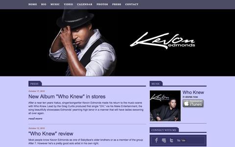 Screenshot of Press Page kevonmusic.com - Kevon Edmonds - captured June 23, 2016