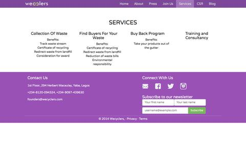 Screenshot of Services Page wecyclers.com - Services - captured Feb. 27, 2016