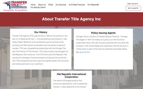 Screenshot of About Page transfertitle.com - About Us – Transfer Title Agency - captured Dec. 16, 2016
