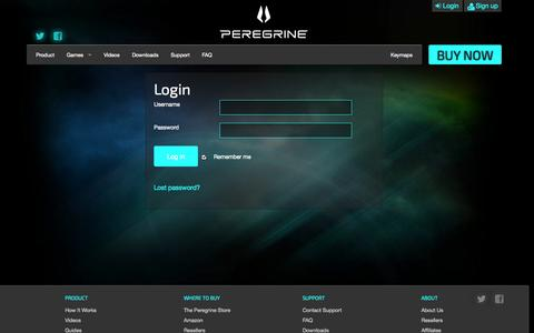 Screenshot of Signup Page theperegrine.com - Login | The Peregrine - captured Sept. 16, 2014