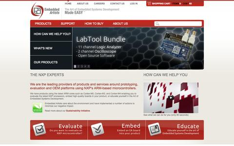 Screenshot of Home Page embeddedartists.com - Embedded Systems Development - made Easy | Embedded Artists AB - captured Sept. 19, 2014