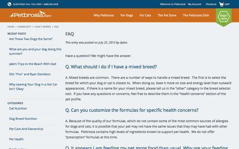 Screenshot of petbrosia.com - How It Works / FAQ / FAQ / Petbrosia: Best Dog and Best Cat Food | Custom Designed Pet Food - captured June 22, 2015