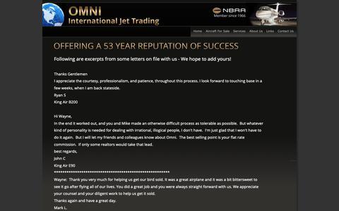 Screenshot of Testimonials Page omnijet.com - Jets for sale, private, corporate, executive - captured Sept. 30, 2018