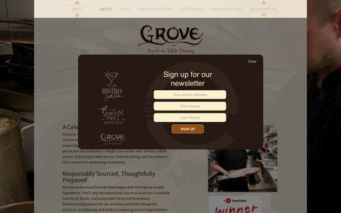 Screenshot of About Page groverestaurant.com - About | Responsible, sustainable restaurant in Grand Rapids, MI | Grove - captured March 5, 2016