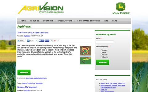 Screenshot of Blog agrivision.us - AgriViews | The AgriVision Blog - captured Oct. 3, 2014