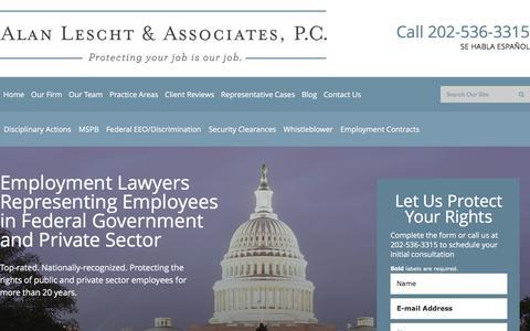 Screenshot of Home Page dcemploymentattorney.com - Federal Employment Lawyers | Alan Lescht & Associates, P.C. - captured Feb. 5, 2016
