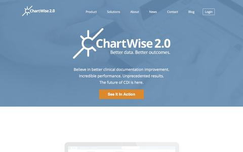 Screenshot of Home Page chartwisemed.com - Clinical Documentation Software, DRG & Medical Reimbursement Specialist – ChartWise 2.0 - captured Dec. 14, 2015