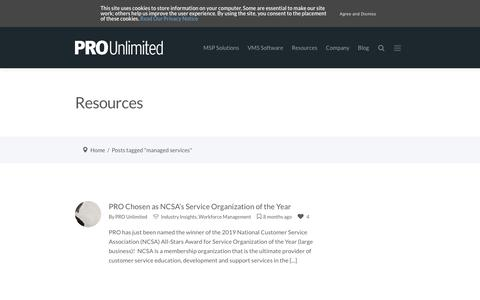 Screenshot of Services Page prounlimited.com - managed services Archives - PRO Unlimited - captured Nov. 8, 2019