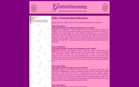 Screenshot of FAQ Page gosfordgrooming.com.au - Gosford Grooming - FAQ's - captured April 12, 2017