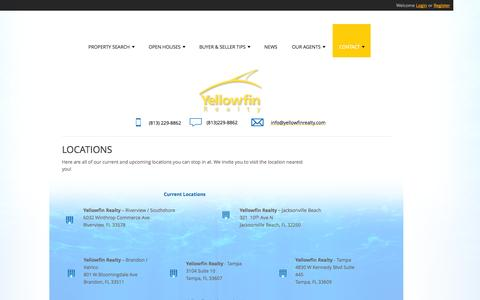 Screenshot of Locations Page yellowfinrealty.com - Yellowfin Realty - Commercial and Residential Florida Real Estate Company - Locations - captured Oct. 4, 2014