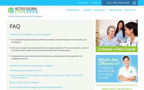 Screenshot of FAQ Page activeglobalcaregiver.hk - FAQ | Active Global Specialised Caregivers - captured Oct. 24, 2018