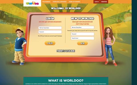 Screenshot of Login Page worldoo.com - Fun Games & Learning Activities for Children|Kids Fun World Website-Worldoo - captured Jan. 24, 2016