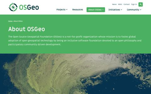Screenshot of About Page osgeo.org - About OSGeo - OSGeo - captured Oct. 18, 2018