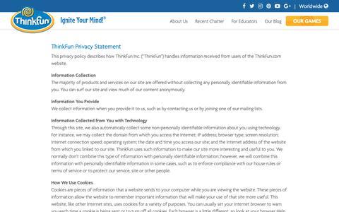 Screenshot of Privacy Page thinkfun.com - Privacy Statement - Thinkfun - captured Sept. 30, 2018