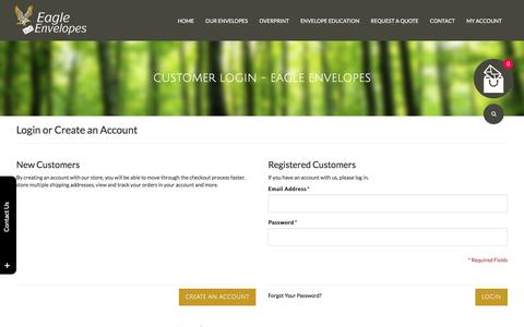 Screenshot of Login Page eagle-envelopes.com - Customer Login - Eagle Envelopes - captured June 26, 2016