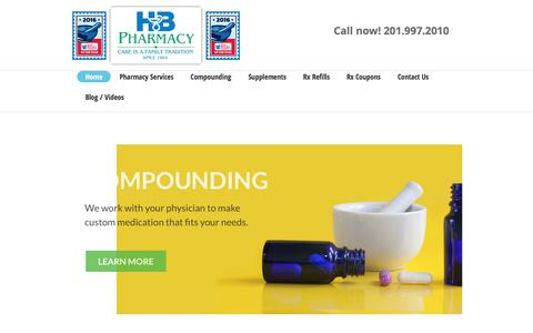 Screenshot of Home Page hbpharmacy.com - HB Pharmacy | Compounding | Wellness Center | HB Pharmacy - captured Sept. 25, 2018