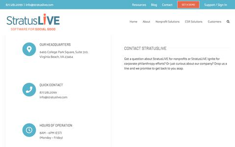 Screenshot of Contact Page stratuslive.com - Contact - StratusLIVE - captured Nov. 7, 2019