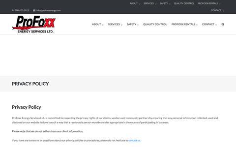 Screenshot of Privacy Page profoxxenergy.com - PRIVACY POLICY | - captured Sept. 5, 2017