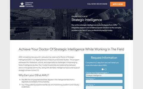 Screenshot of Landing Page apus.edu - Doctor of Strategic Intelligence | American Military University - captured April 13, 2018