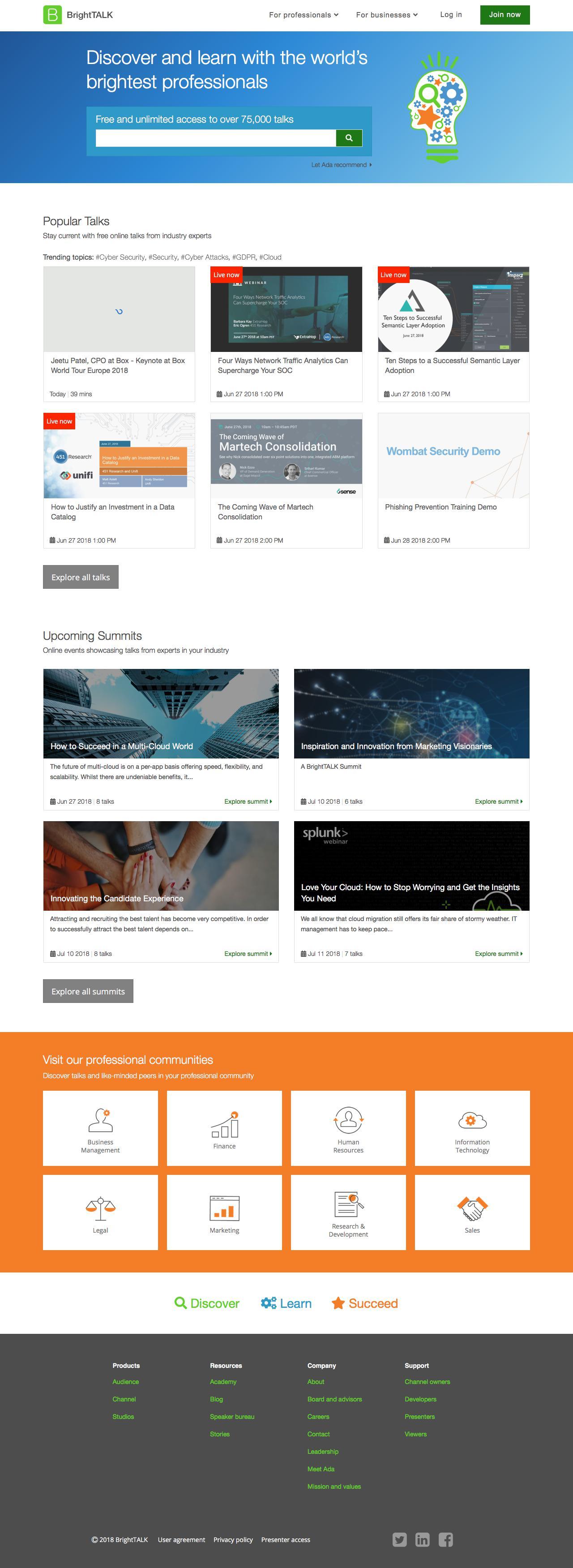 Screenshot of brighttalk.com - Homepage – BrightTALK - captured June 27, 2018
